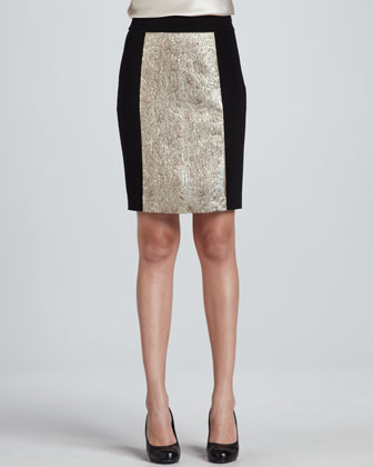 Gold Jacquard Paneled Skirt