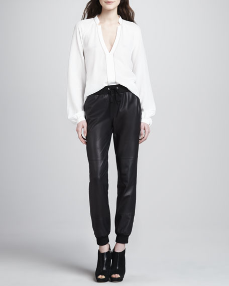 Kacey Knit-Trim Leather Pants