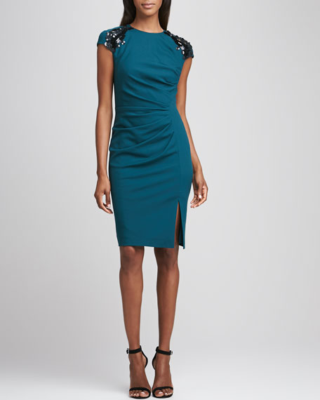 Sequined Shoulder Pleated-Front Dress