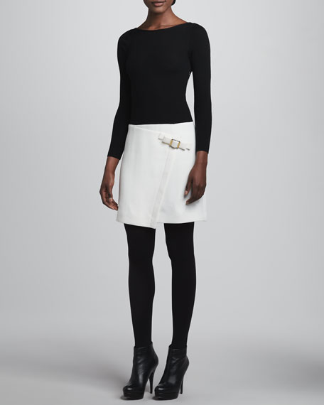 Long-Sleeve Buckle-Skirt Dress