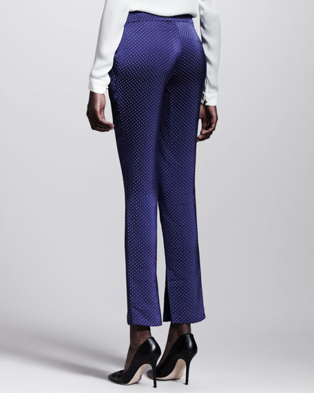 Ascot Dotted Side-Slit Skinny Pants