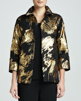 Caroline Rose Abstract Painterly Printed Jacket, Petite