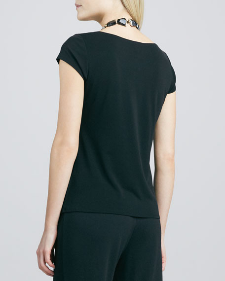 Silk-Jersey Cap-Sleeve Tee, Black