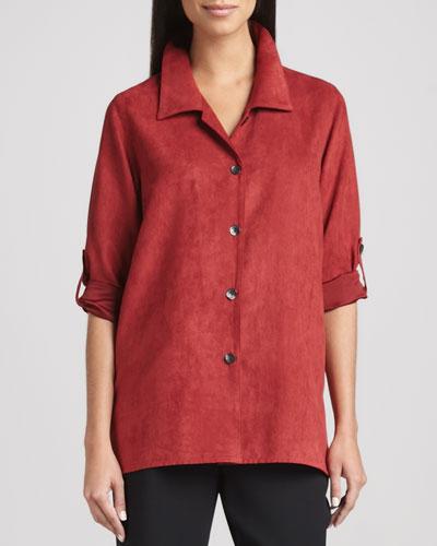 Caroline Rose Modern Faux-Suede Big Shirt, Petite
