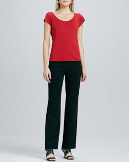 Eileen Fisher Ponte Straight-Leg Pants, Petite