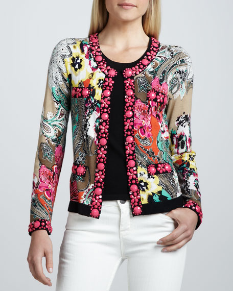 Printed Cardigan with Beading, Women's