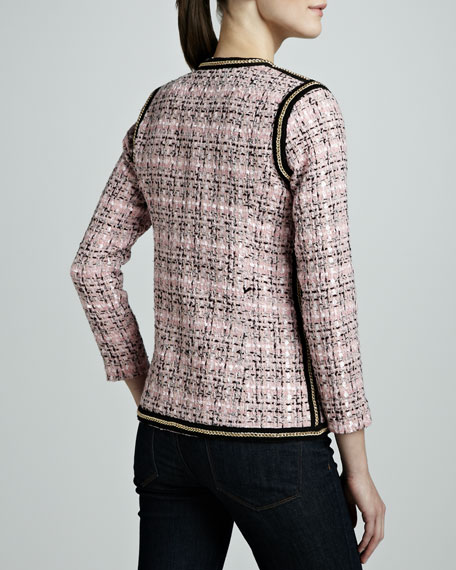 Tweed Chain-Trim Jacket, Petite