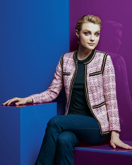 Tweed Chain-Trim Jacket, Women's