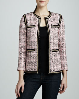 Michael Simon Tweed Chain-Trim Jacket, Women's