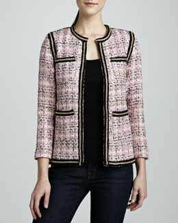 Michael Simon Tweed Chain-Trim Jacket