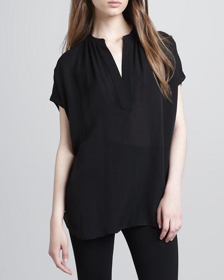 Silk Cap-Sleeve Blouse