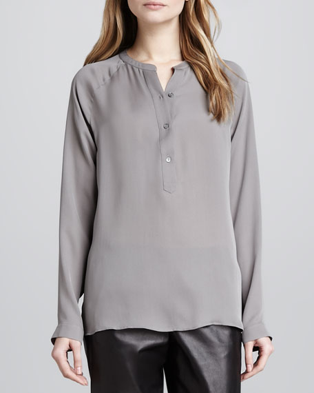 Raglan-Sleeve Silk Blouse
