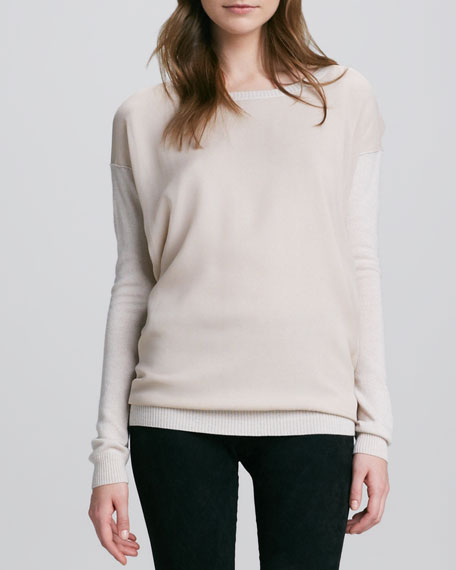 Chiffon-Overlay Knit Sweater