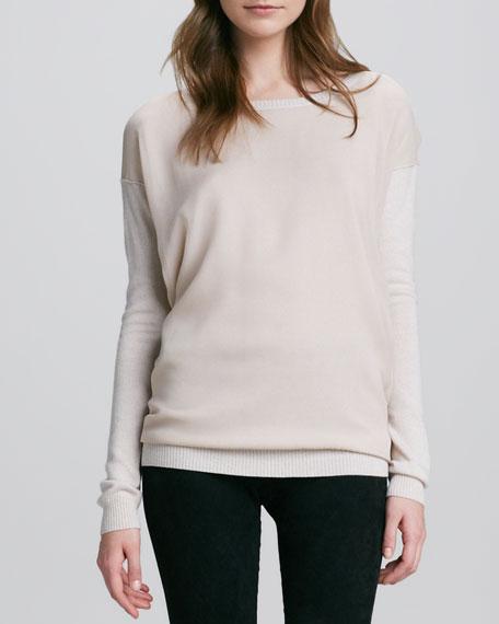 Chiffon-Overlay Knit Sweater