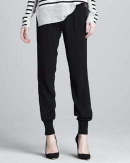Vince Banded-Cuff Jogging Pants, Black