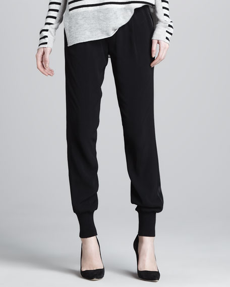 Banded-Cuff Jogging Pants, Black