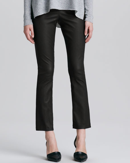 Cropped Leather Pants, Black