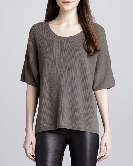 Mixed-Texture Cashmere Sweater