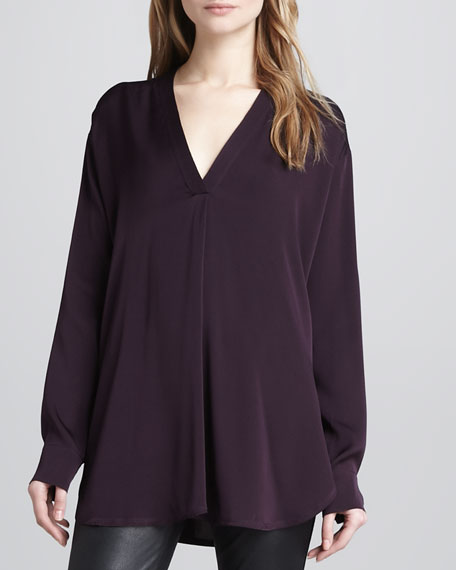 Loose Stretch-Silk Blouse, Mulberry