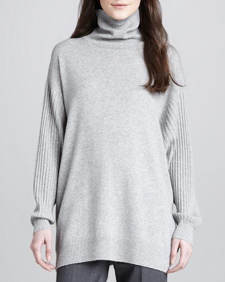 Rib-Sleeve Turtleneck Sweater