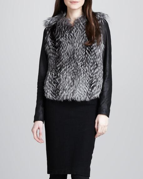 Ribbed-Knit Pencil Skirt, Black