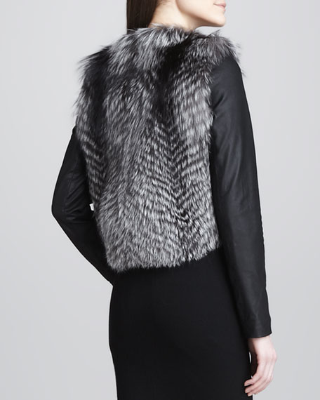 Leather-Sleeve Fur Jacket