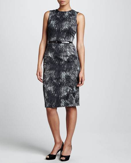 Printed Stretch Crepe Sheath Dress