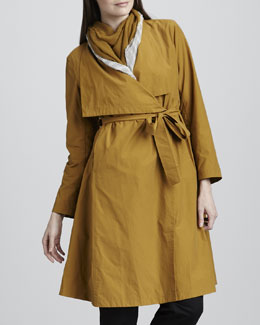Eileen Fisher Cascade-Collar Trenchcoat