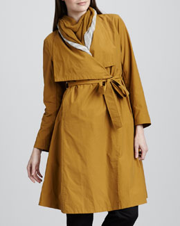 Eileen Fisher Cascade-Collar Trenchcoat, Petite