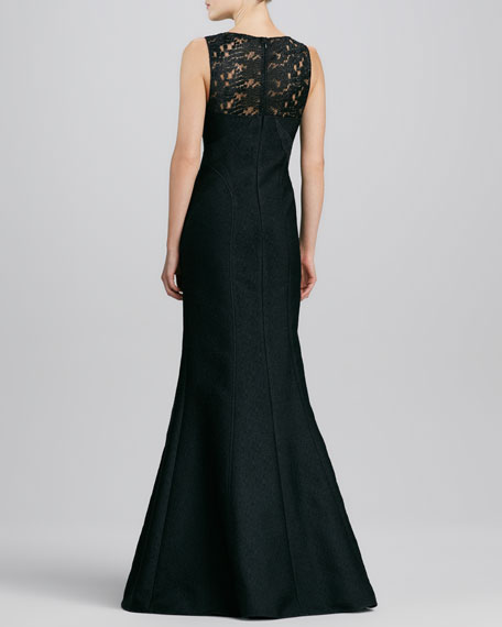 Sleeveless Lace Illusion-Neck Gown