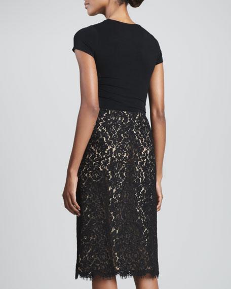 Floral-Lace A-Line Skirt