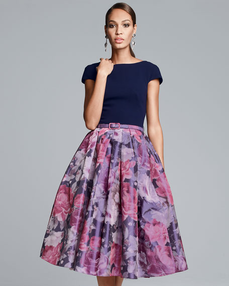 Floral Full-Skirt Combo Cocktail Dress