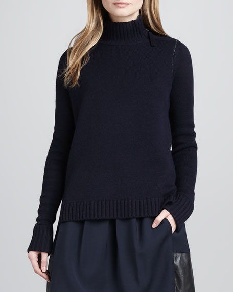 Ribbed-Trim Knit Sweater, Coastal/Thunder
