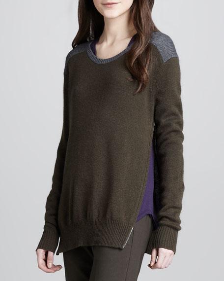 Side-Zip Colorblock Sweater