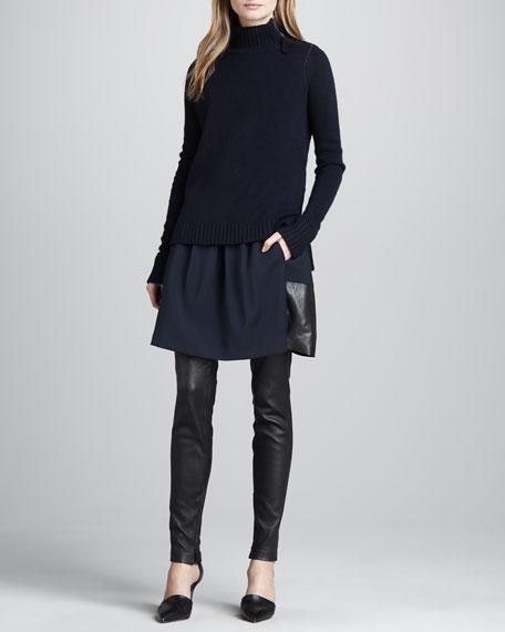 Leather-Hem Crepe Skirt