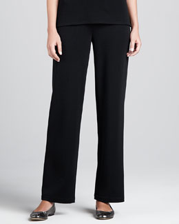 Caroline Rose Flat Wool-Knit Pants