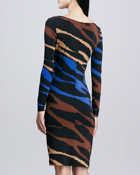 Multi-Print Long-Sleeve Jersey Dress