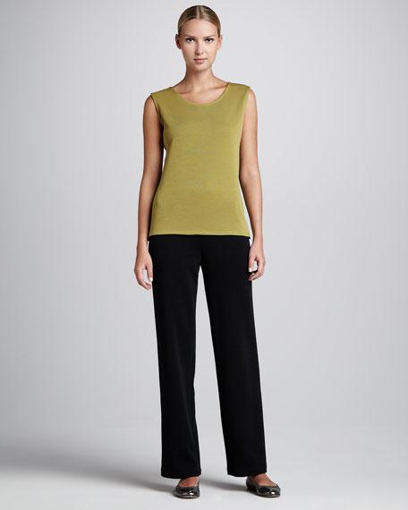 Flat Wool-Knit Pants, Women's