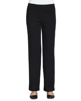Caroline Rose Flat Wool-Knit Pants, Petite