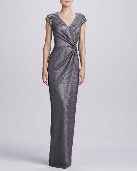 Beaded-Shoulder Wrap Gown