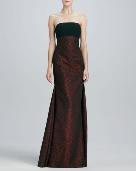 Strapless Brocade Gown