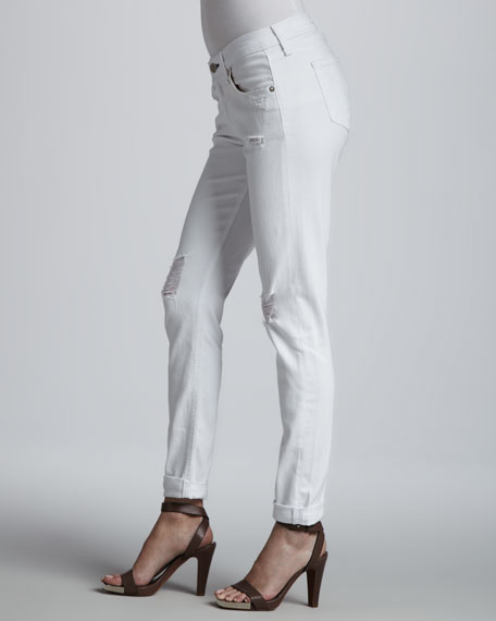 Dash Tattered White Slouchy Slim Jeans