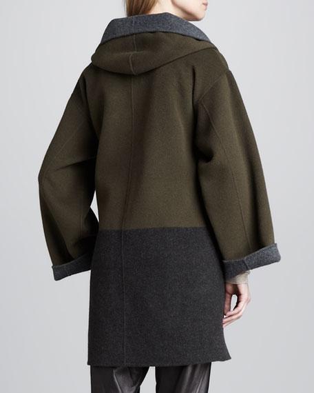 Colorblock Felt Coat