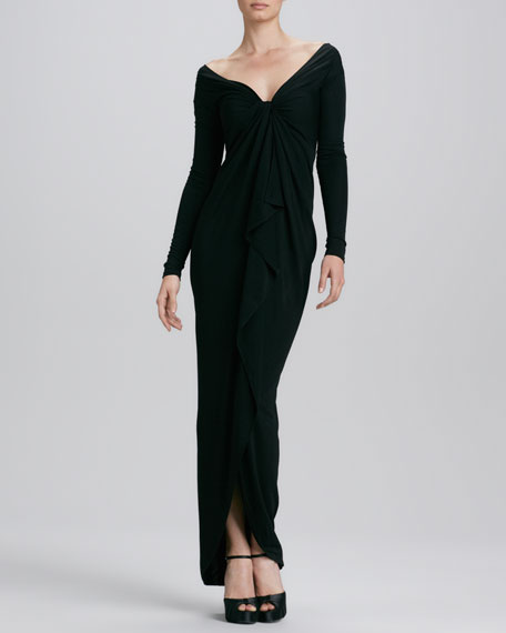 V-Neck Long-Sleeve Jersey Gown