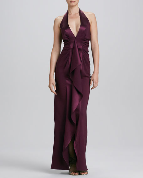 Halter V-Neck Ruffle Front Gown