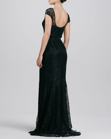 Lace Belted Gown