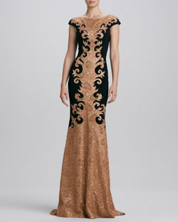 Theia Baroque-Lace Gown