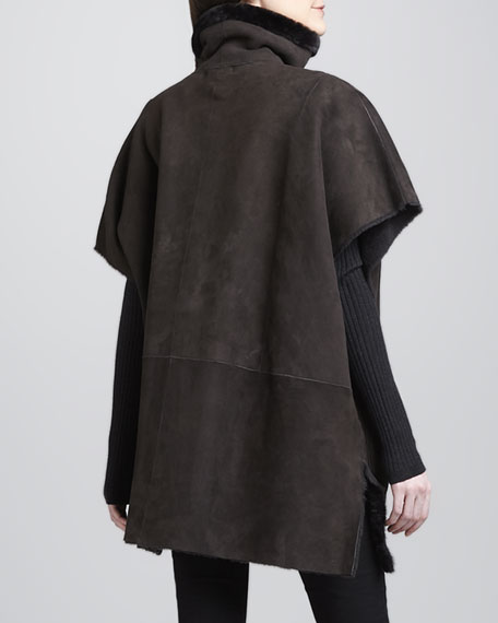 Shearling-Lined Poncho