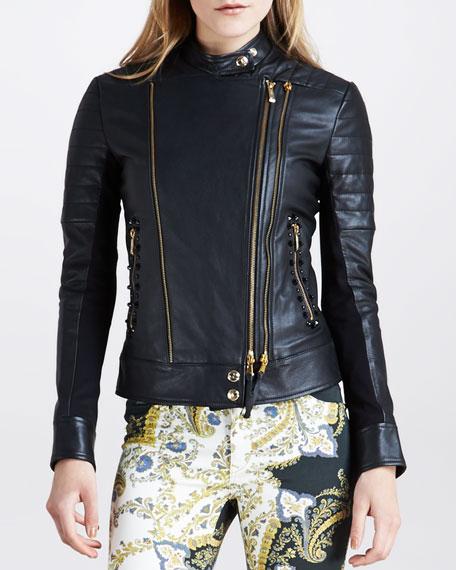 Jersey-Panel Motorcycle Jacket