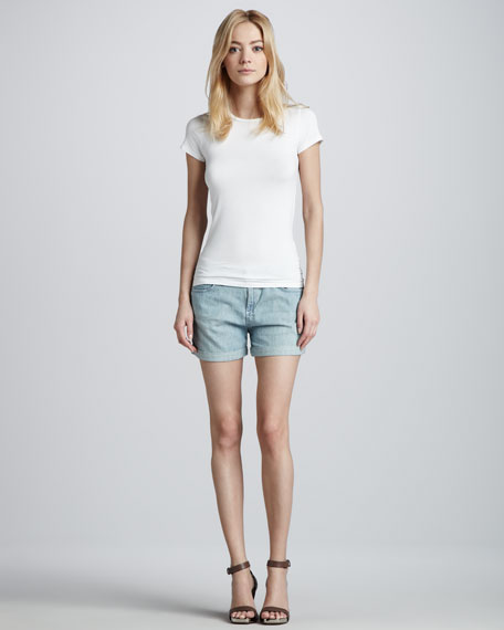 Moon Chambray Cuffed Boyfriend Shorts